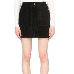 Rag & Bone Denny Black Suede High Waist Mini Skirt